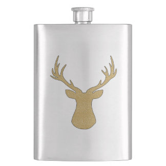 Deer - geometric pattern - beige and white. hip flask