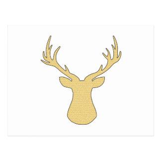 Deer - geometric pattern - beige and white. postcard