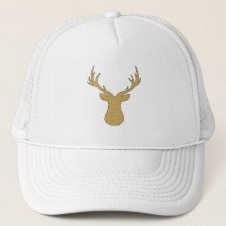 Deer - geometric pattern - beige and white. trucker hat