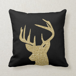 Deer Gold Glitter and Black Throw Pillow 16x16
