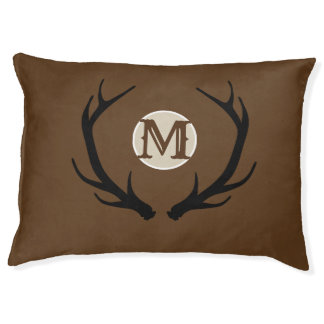 Deer Head Antlers Rustic Country Modern Monogram Pet Bed