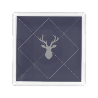 DEER HEAD ARGYLE ACRYLIC TRAY