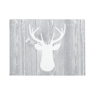 Deer Head Grey Wood Pattern Doormat