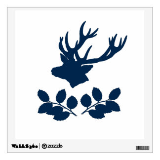 Deer Head Holly branches Wall Decal