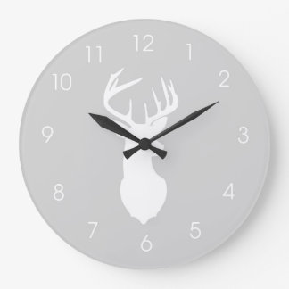 Deer Head Hunters Buck Wall Clock - Gray