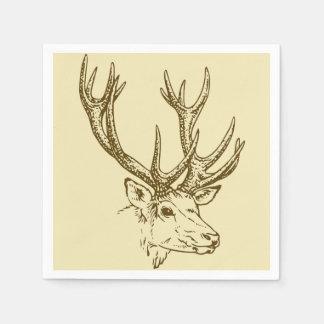 Deer Head Illustration Graphic Paper Napkins