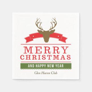 Deer Head Merry Christmas Paper Napkin