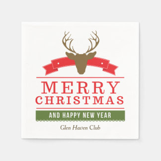 Deer Head Merry Christmas Paper Napkins