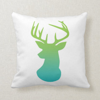 Deer Head Modern Ombre Watercolor Green and Blue Throw Pillows