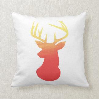 Deer Head Modern Ombre Watercolor Yellow & Orange Throw Pillow