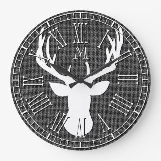 Deer Head Monogram Charcoal Burlap Large Clock