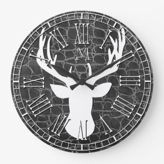 Deer Head Monogram Charcoal Leather Large Clock