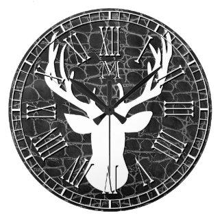 Deer Head Monogram Charcoal Leather Wallclocks