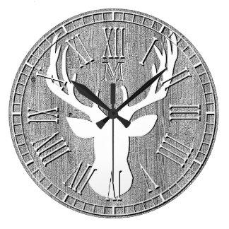 Deer Head Monogram Weathered Wood Wallclocks
