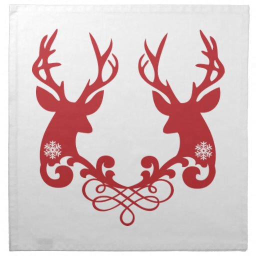 Deer head ornament, Christmas design Cloth Napkins