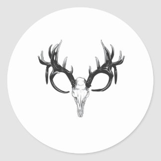 Deer head round sticker
