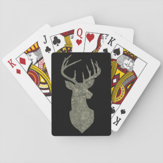 Deer Head Silhouette Buck Trophy in Camouflage Playing Cards