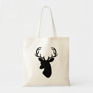 Deer Head Silhouette In Black Tote Bag