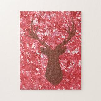Deer Head Silhouettte Red Camo Puzzle Wildlife