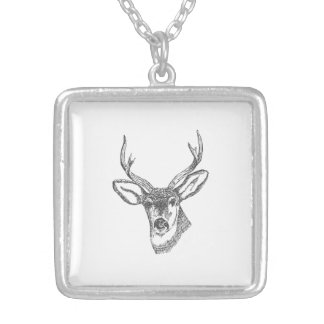 Deer Head Sketch Silver Plated Necklace