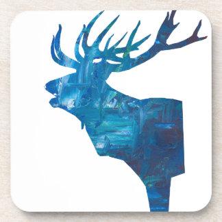 deer head stag in blue coaster