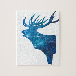 deer head stag in blue jigsaw puzzle