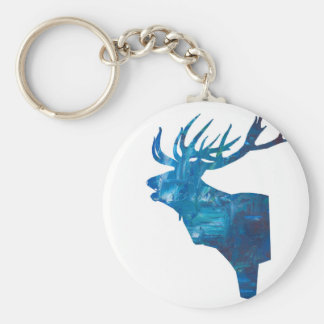 deer head stag in blue keychain