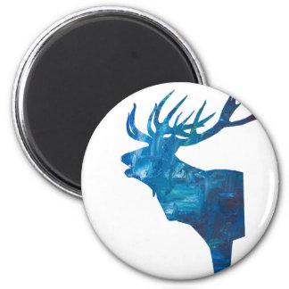 deer head stag in blue magnet