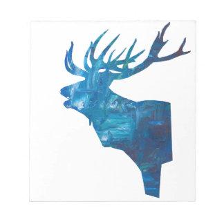 deer head stag in blue notepad