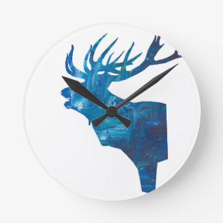 deer head stag in blue round clock