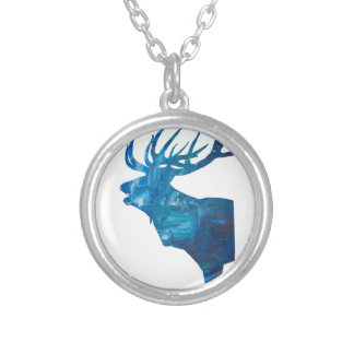 deer head stag in blue silver plated necklace