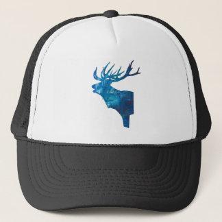 deer head stag in blue trucker hat
