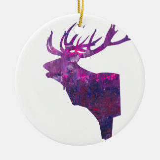 Deer head stag in lilac ceramic ornament