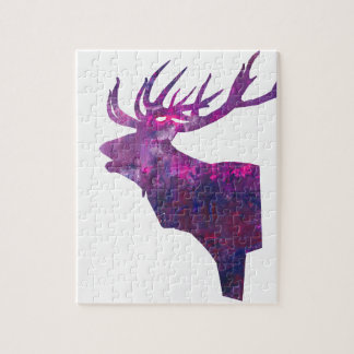 Deer head stag in lilac jigsaw puzzle