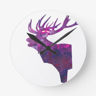 Deer head stag in lilac round clock