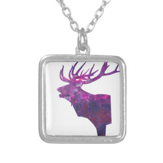 Deer head stag in lilac silver plated necklace