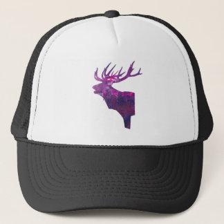 Deer head stag in lilac trucker hat
