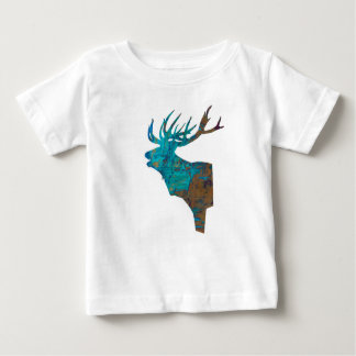 deer head stag in turqouis and brown baby T-Shirt