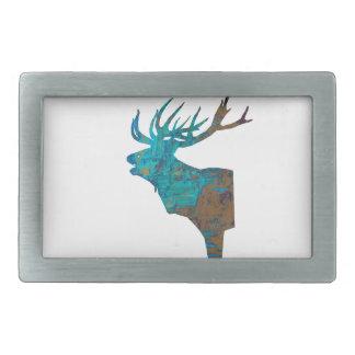 deer head stag in turqouis and brown belt buckle