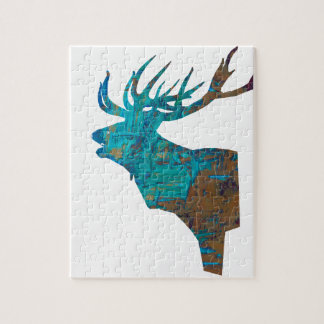 deer head stag in turqouis and brown jigsaw puzzle