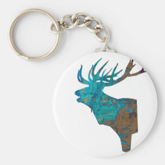 deer head stag in turqouis and brown keychain