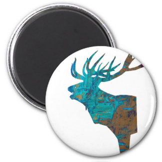 deer head stag in turqouis and brown magnet