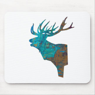 deer head stag in turqouis and brown mouse pad