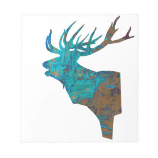 deer head stag in turqouis and brown notepad