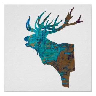 deer head stag in turqouis and brown poster