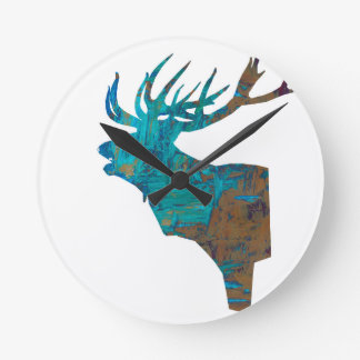 deer head stag in turqouis and brown round clock