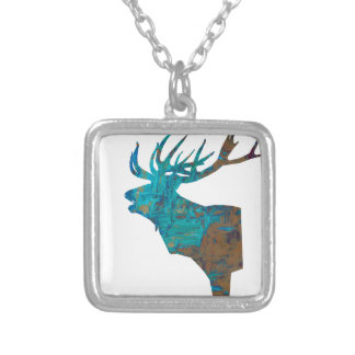 deer head stag in turqouis and brown silver plated necklace