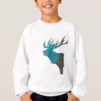 deer head stag in turqouis and brown sweatshirt