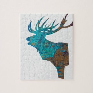deer head stag in turquois jigsaw puzzle