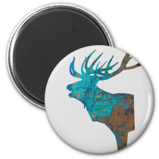 deer head stag in turquois magnet